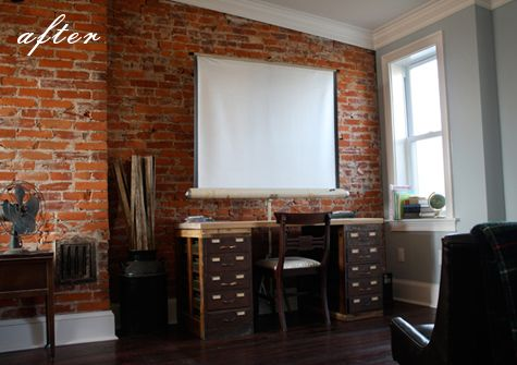 exposed brick office