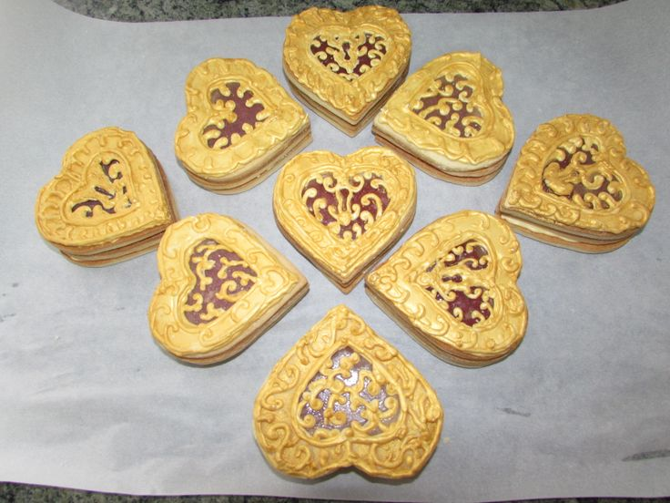 ... , cinnamon candy hearts, isomalt, gold coloring gel and luster dust