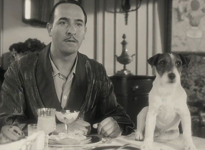 Uggie and jean dujardin from the artist jack russell for Dujardin the artist
