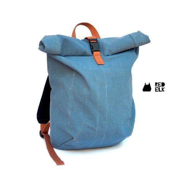 blue roll up top backpack rucksack travel bag riding. Black Bedroom Furniture Sets. Home Design Ideas
