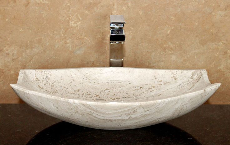 Travertine Bathroom Sinks : Modern Natural Stone Bathroom Vessel Sink - Travertine
