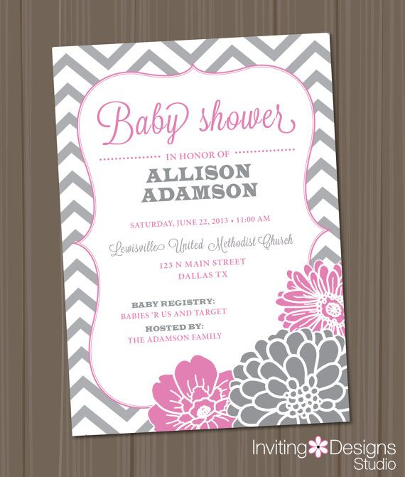 pink and gray baby shower invitation chevron floral customize your