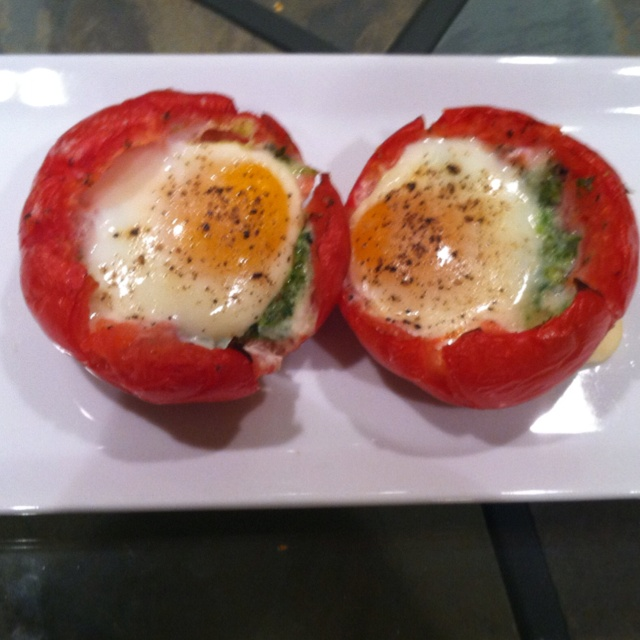 Pesto and egg stuffed tomato . It was very good.