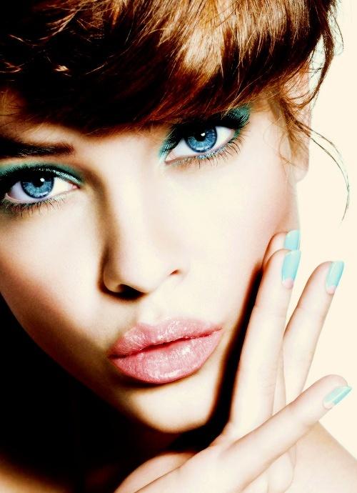 Barbara's Lovely Eye Make-Up Brings Out Her Blue Eyes.