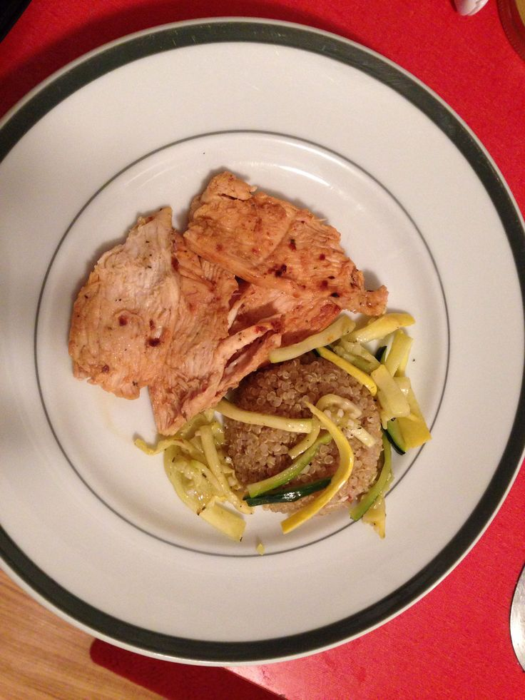 and herb quinoa with zucchini and squash ribbons with garlic chicken ...