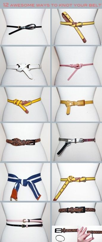 Different ways to knot your belt.  Definitely going to want to memorize these. I've only been using one knot all my life!