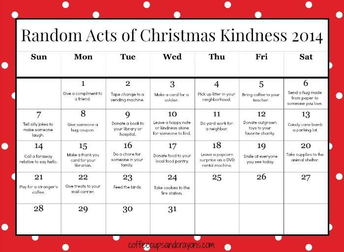 Free Printable Random Acts of Christmas Kindness Calendar for Kids!