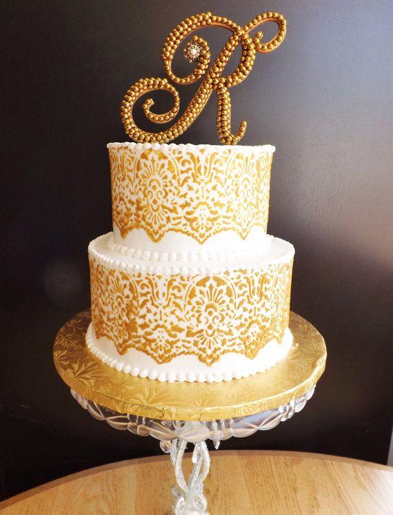 Gold Pearl Wedding Cake Topper Monogram