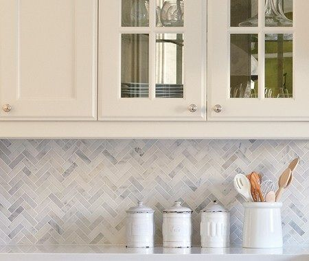 herringbone carrera marble backsplash home wishes pinterest