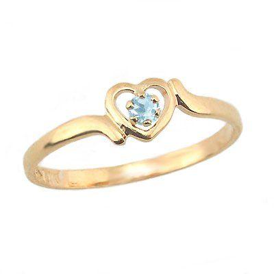 14k gold 3 1 2 children s genuine march birthstone ring aquamarine