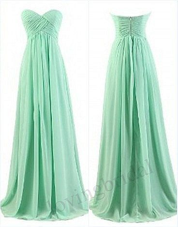 fake beats for sale New custom Long prom Mint sweetheart Chiffon elegant party dress ruff