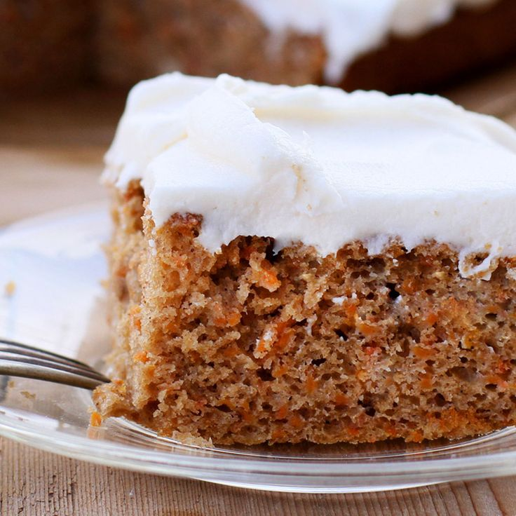 Carrot cake, spiced with cinnamon and nutmeg, is made especially ...