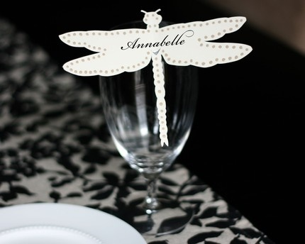 laser cut dragonfly wine glass / food marker