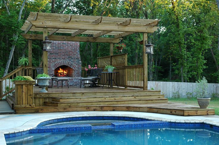 Raised wood deck w fireplace dream house pinterest for Fireplace on raised deck