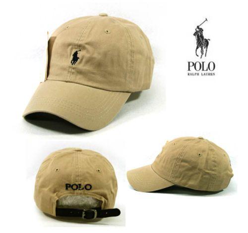 Sp53 Beige Cap Dark Blue Small Logo Polo Baseball Hat