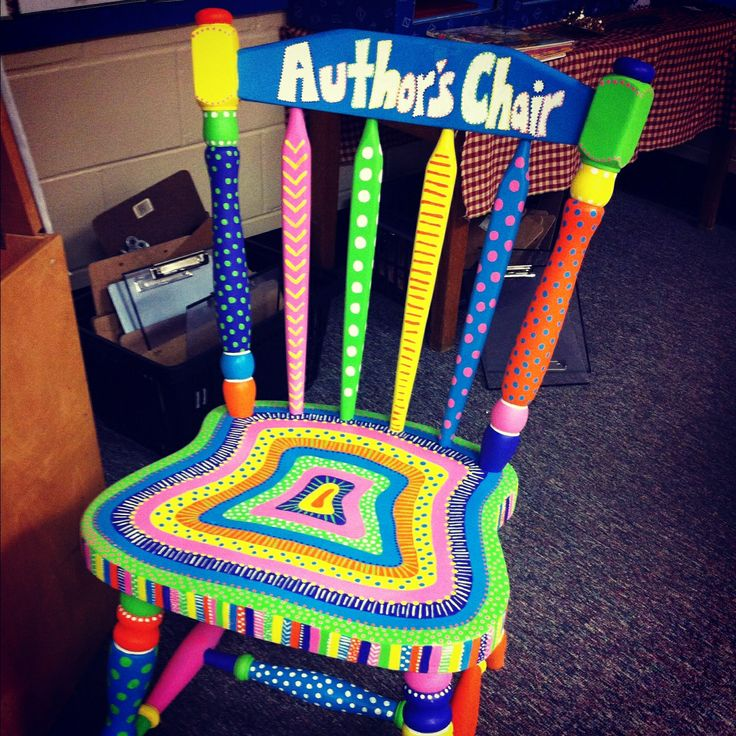 Cute author's chair idea! Now I just need someone who can paint one for me!