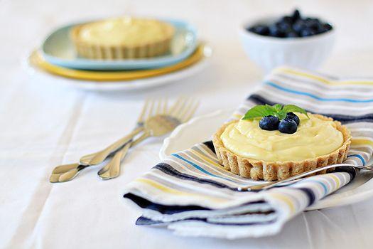 Almond Custard Tarts (lemon zest, egg yolks, cream, blueberries)