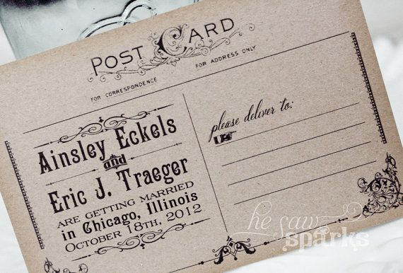 Vintage Save the Date Idea Postcards by Nostalgic Imprints