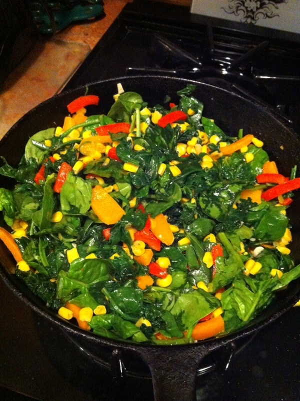 """Mo's Spicy Kale and Spinach """"Succotash"""" with Coconut Oil"""