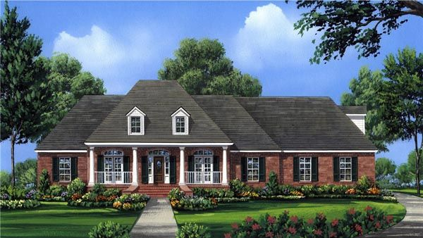 Country european french country southern house plan 59956 for European country house plans