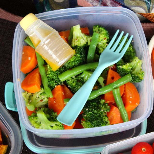 ... blanched veggie salad with sesame dressing and harissa-roasted squash