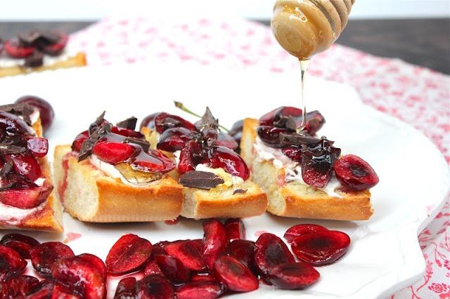 ValSoCal: Cherry Bruschetta. Honey Nut Cream Cheese, sliced Cherries ...