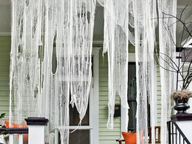 #Spooky #FrontPorch #Halloween  Creepy drapes>> http://www.hgtv.com/handmade/spooky-front-porch-decorating-ideas-for-halloween/pictures/page-4.html?soc=pinterest