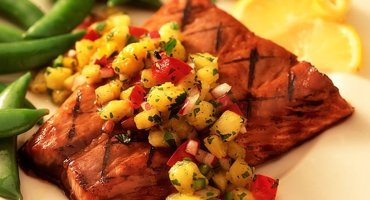 sweet and tangy grilled salmon with pineapple salsa topping.