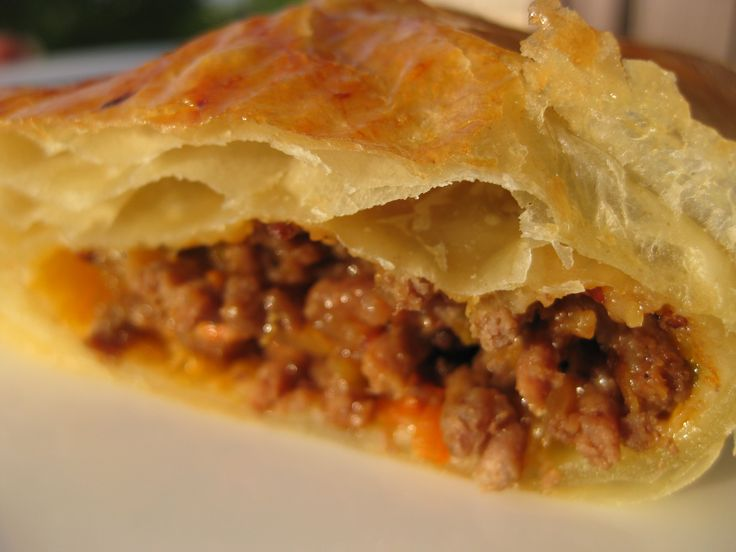 Australian Meat pie, made with puff pastry.