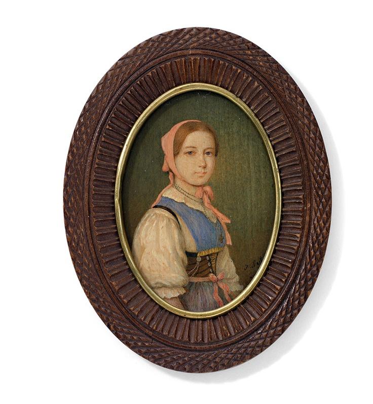 Jakob Suter. Portrait einer jungen Schweizerin in Tracht. Auf Holz