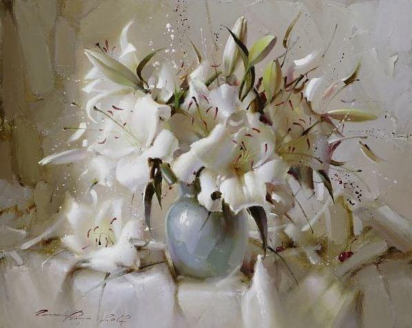 Ramil gappasov naturaleza muerta con lirios blancos óleo sobre