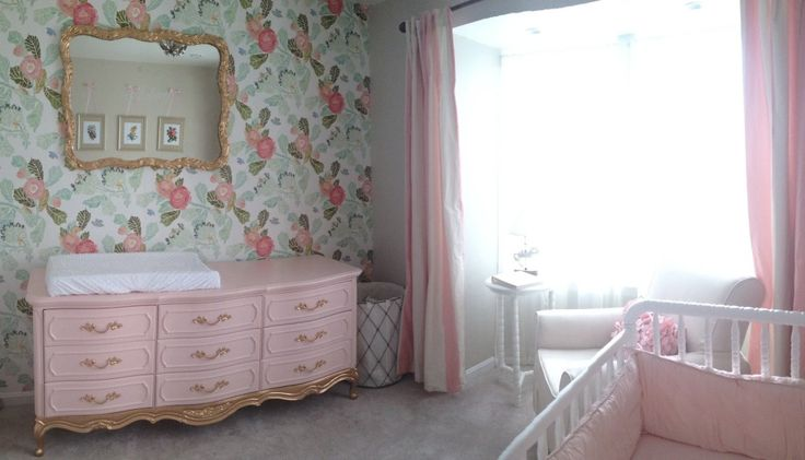 Pink and gold refinished dresser/changing table = #nursery #love