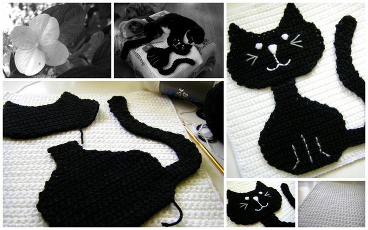 Вязание аппликаций крючком котик