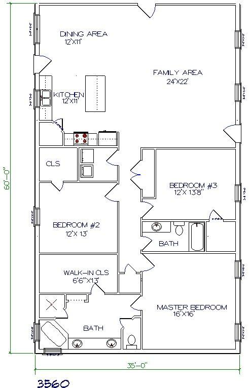 Barndominium floor plans 40x60 joy studio design gallery for Metal buildings with living quarters floor plans