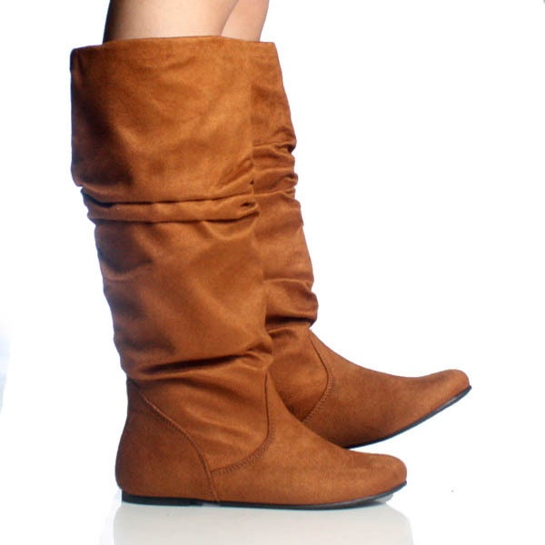Elegant Light Brown Faux Leather Ruched Cuffed Flat Boots  Amiclubwear Boots