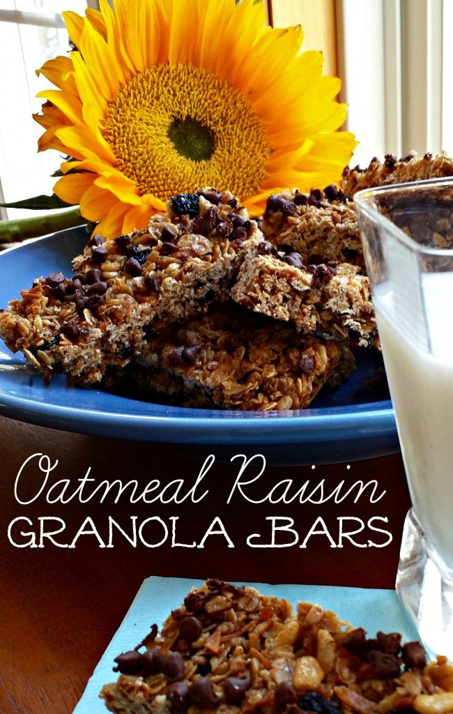 Oatmeal Raisin Granola Bars. This makes for a healthy snack on the go ...