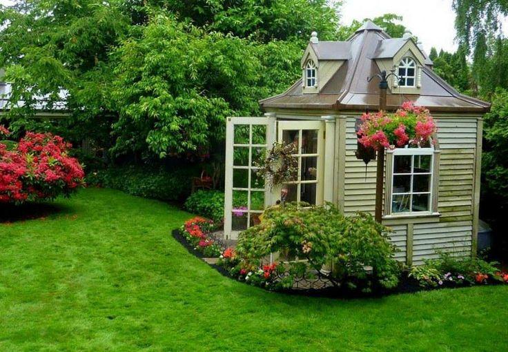 Great garden shed garden and potting sheds pinterest for Garden potting sheds designs