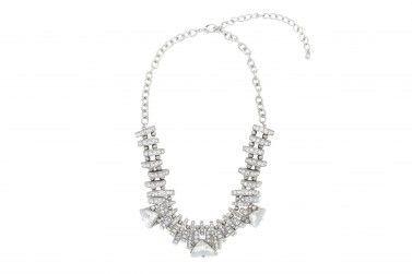 Edgy Rhinestone Rib Necklace