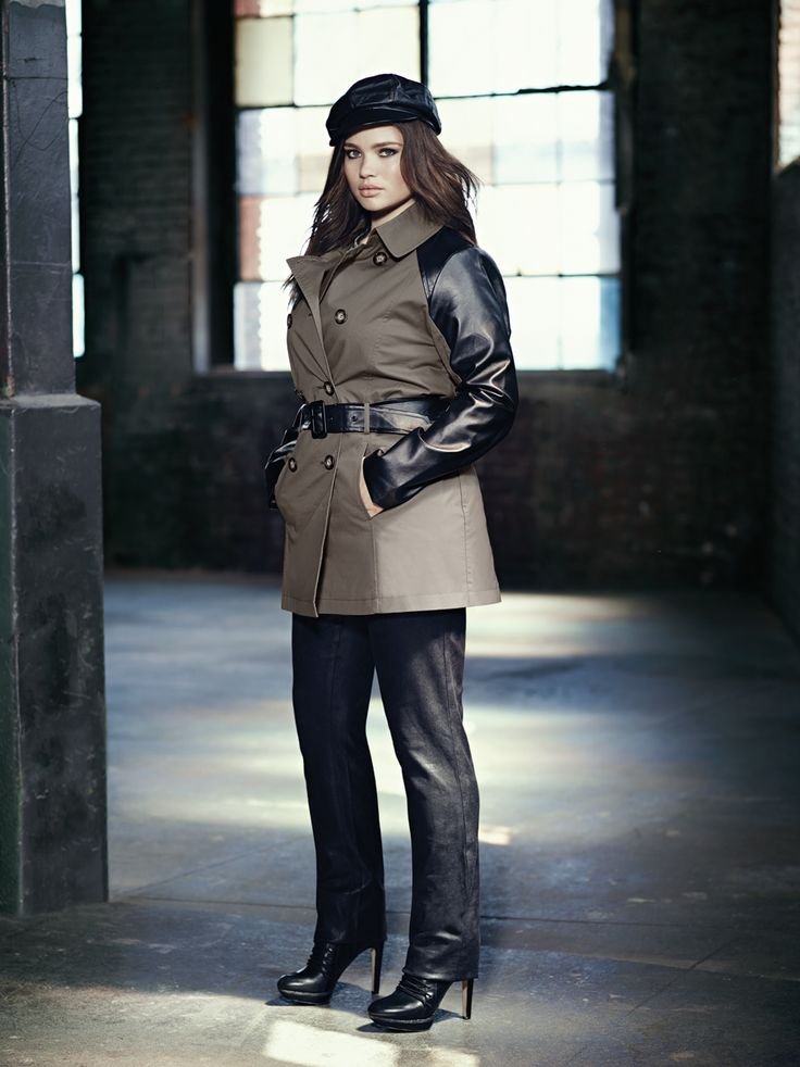 Addition Elle plus size trench coat with faux leather sleeves and slim leg faux suede pant.