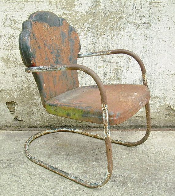 Retro Metal Lawn Chair Scallop Back Rustic Vintage Porch Furniture