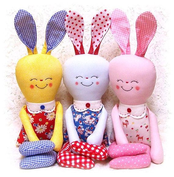 Кролик Pattern Pattern Softie Мягкая игрушка OhSewDollin, $ 10.00