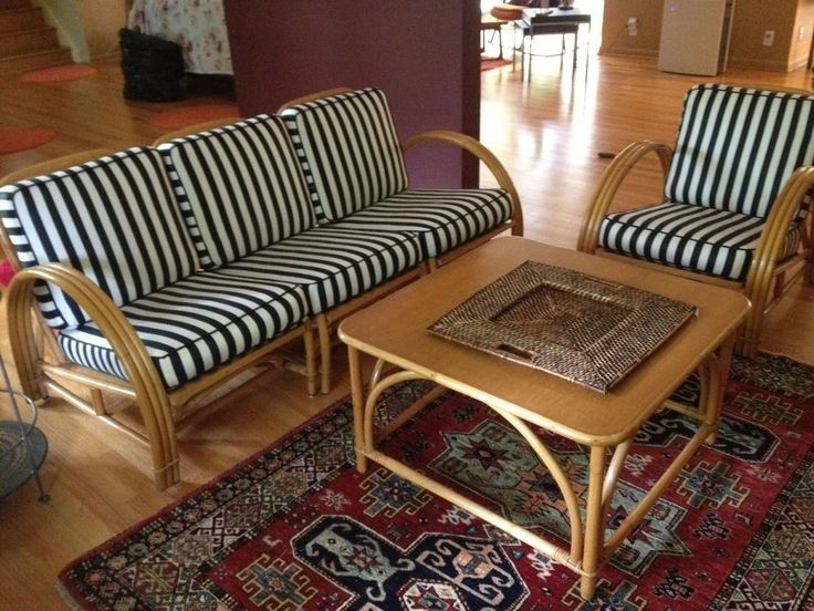 Vintage Mid Century Ficks Reed Rattan Bamboo Furniture Set