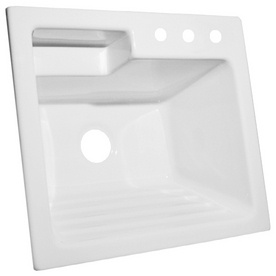 CorStone White Self-Rimming Acrylic Laundry Sink with Washboard ...