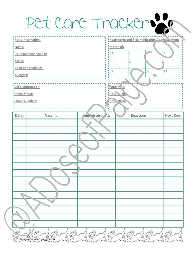 printable medical record tracker