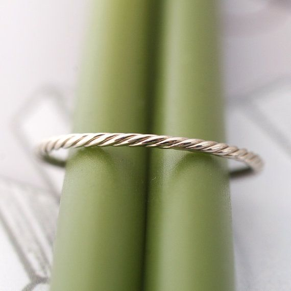 14k Gold Rope Band- Modern Wedding Band or Stacking Ring 14k Yellow or White Gold