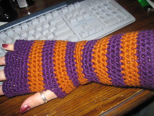 Striped Gloves with Half Fingers Crochet Pinterest