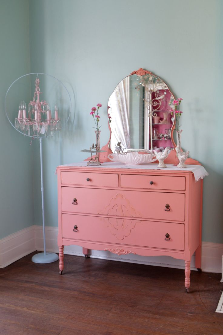 Antique dresser shabby chic distressed pink coral salmon cottage prai…