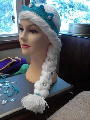 Crochet Elsa Hair Hat : Crocheted Elsa Hat, from the movie Frozen, made to order excellent qu ...