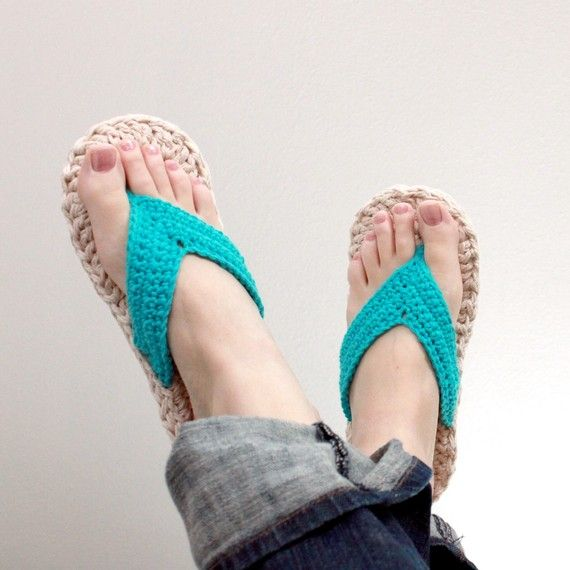 Crochet Flip Flops : Crochet Pattern Flip Flops Child/Adult sizes 310 by Mamachee,