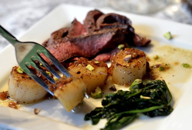 Steak & Scallops with Shallot Butter Sauce - yum! http://www ...